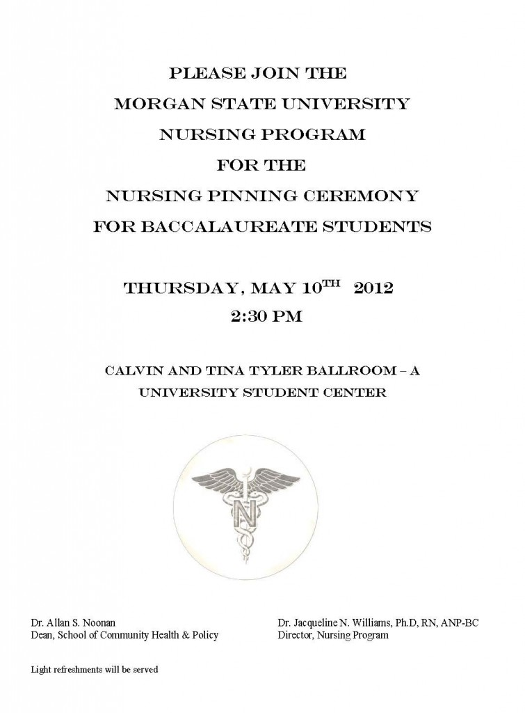 Pinning Ceremony For Baccalaureate Nursing Students Morgan State