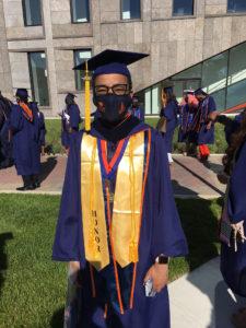 morgan graduate in a mask