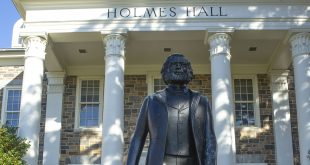 Holmes Hall and Douglas Statue