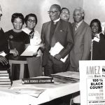 Nampeo (third from left) with AME Zion Church members in Los Angeles, Calif., in 1969. She headed a U.S. Census Bureau program designed to increase participation of blacks in the 1970 U.S. census by reaching out to national African-American organizations.