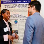 students discussing innovation programs at morgan state