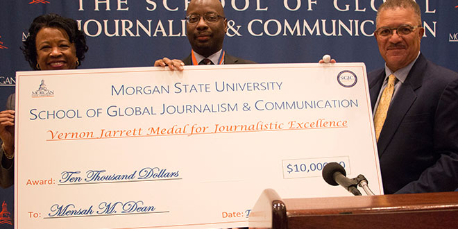 photo of Mensah M. Dean with Dean of School of Global Journalism and University Provost