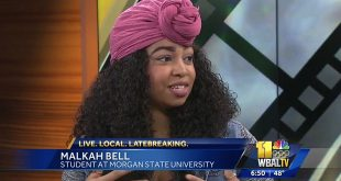 student Malkah Bell on WBAL TV