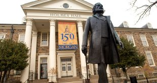 Holmes Hall and Frederick Douglas statue