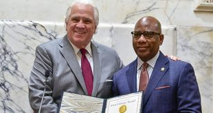 President of the Maryland Senate Thomas V. Mike Miller Jr. honored Morgan State University President David Wilson with the 2018 First Citizen Award