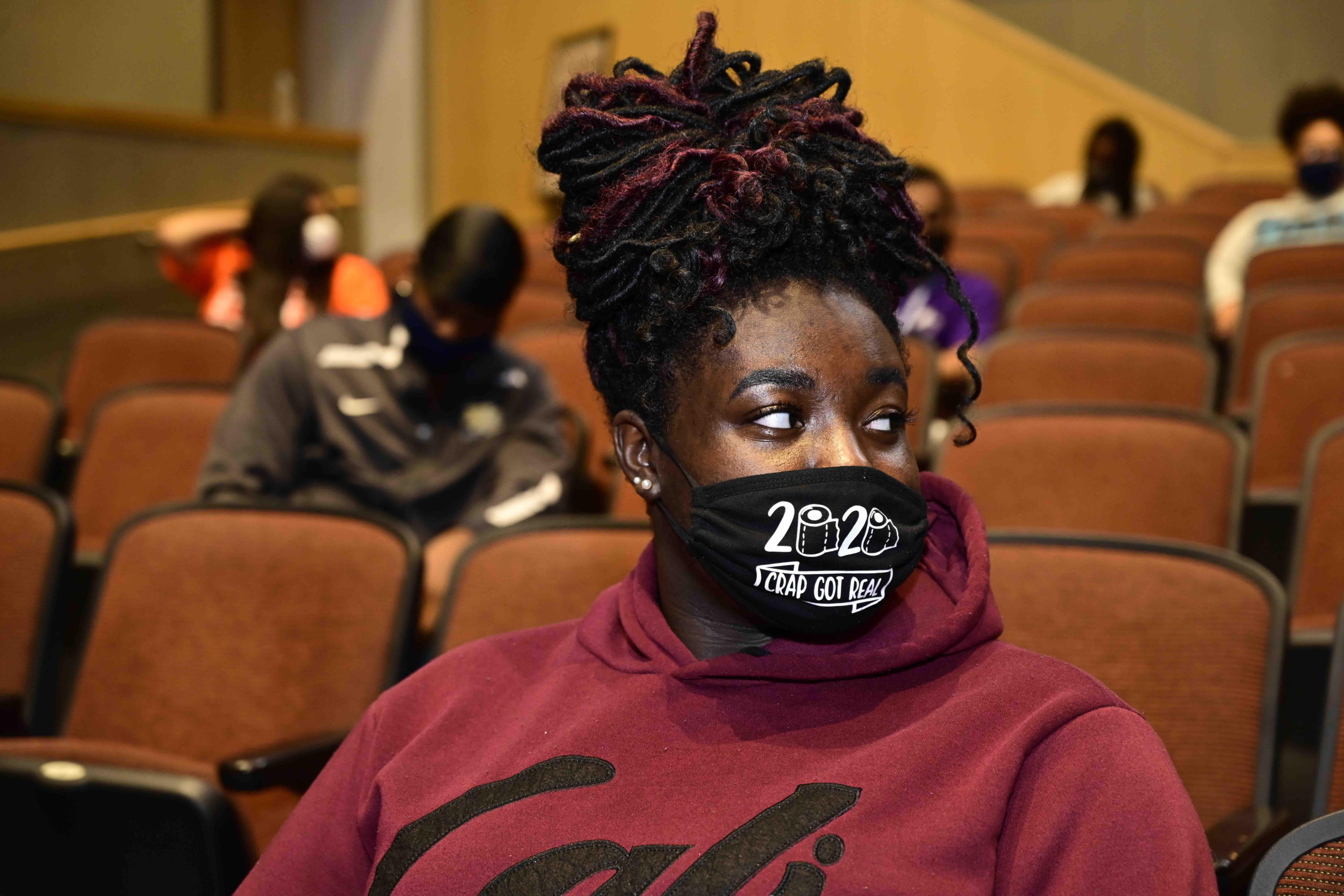 student wearing a mask